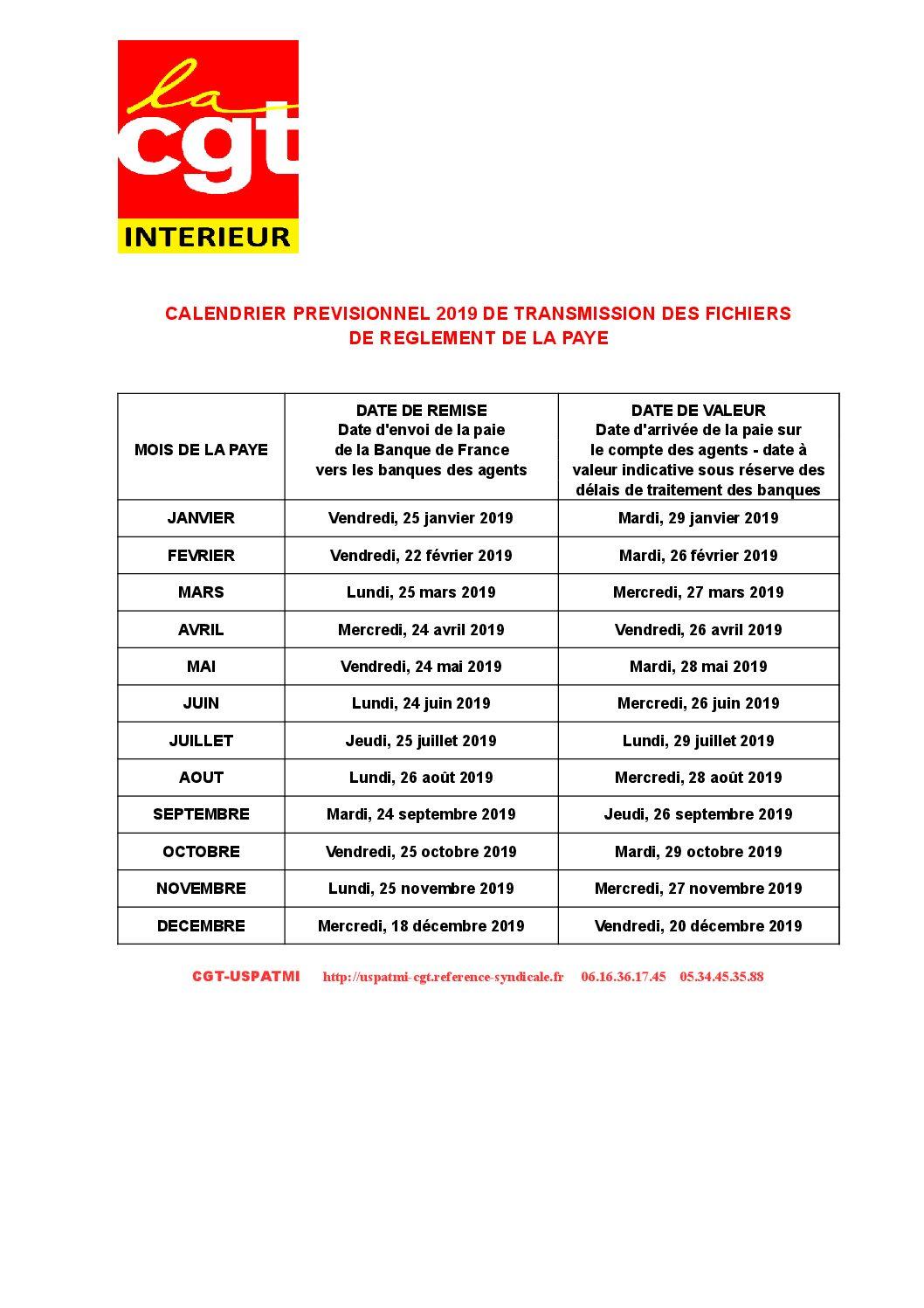 Concours Fonction Publique Categorie C Calendrier.Calendrier De La Paye 2019 Cgt Uspatmi